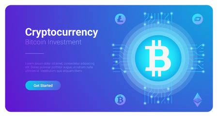 Bitcoin Cryptocurrency Trade Investment Business. Mining industry symbol concept