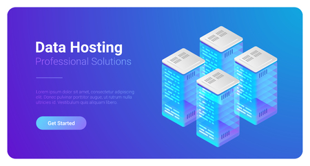 Isometric Flat Data Hosting Servers vector illustration