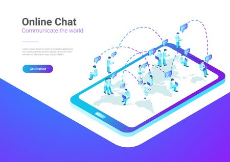 Isometric Flat  People talking worldwide social network messenger vector illustration. Teamwork crowd sitting on World Map in Mobile Phone smartphone concept Illustration
