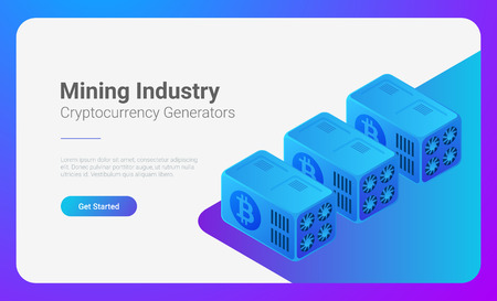 Isometric Bitcoin Miners Computers website vector banner design. Mining Industry Cryptocurrency illustration concept