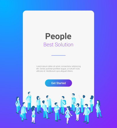 People standing in front of Horizontal Blank banner poster window with Copyspace vector illustration mockup Çizim