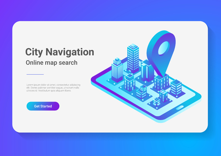 Isometric flat 3D City Map in Mobile Phone Navigation vector illustration concept