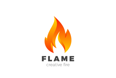 Fire Flame Logo design vector template.  Burning Inferno Energy Power 3d Logotype concept icon