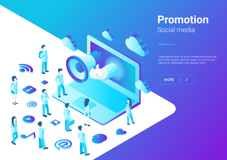 Isometric Flat Loudspeaker Megaphone from Laptop talking to Crowd of People vector illustration. Notebook Advertisement Promo Marketing Concept ultraviolet style