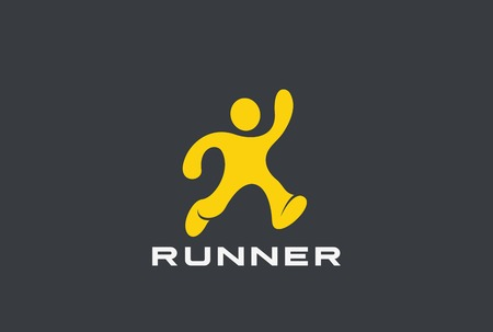 Running Man Abstract Sport Delivery Logo design vector template.  Runner Athlete Winner Logotype concept icon