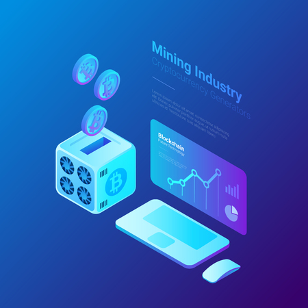 Bitcoin Miner with falling Coins and Computer with Cryptocurrency rate statistics on Screen Isometric Flat Mining industry concept Standard-Bild - 102377278