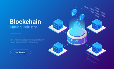 Diseño de banner de vector de sitio web isométrico Bitcoin Miners Computers. Concepto de ilustración de Cryptocurrency de la industria minera.