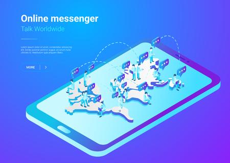 Isometric Flat  People talking worldwide social network messenger vector illustration. Men Teamwork crowd sitting on World Map in Mobile Phone smartphone concept Illustration