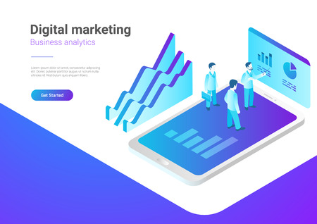 Isometric Flat Marketing Strategy Vector Illustration. People standing on Smartphone with Statistics Charts Illustration