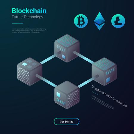 Blockchain Cryptocurrency Bitcoin Etherium Litecoin Technology Isometric flat vector illustration concept. Hi tech Block chain process data structure visualization Illustration