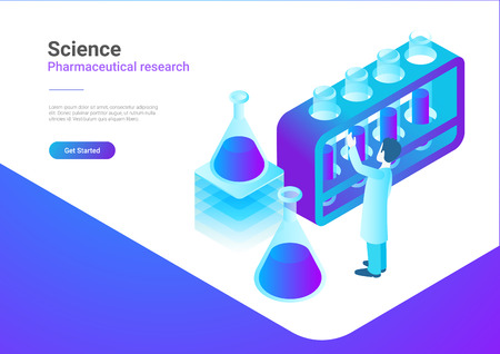 Isometric Flat Science Laboratory vector illustration concept. Scientist working with Test Tubes
