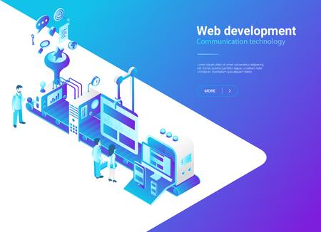 Isometric Flat Web development vector illustration. Website design laboratory Production studio concept