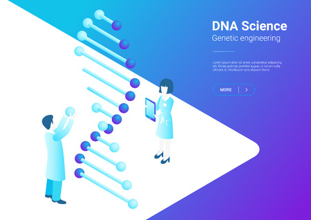 Isometric Flat Scientists working with microscope test tubes DNA in Laboratory