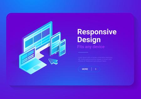 Responsive Design on Computer Laptop Tablet PC mobile phone smartphone isometric flat vector illustration. Webdesign studio concept Illustration