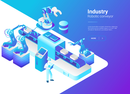 Isometric Flat Robotics Factory Conveyor vector illustration. Robot industry concept Illustration