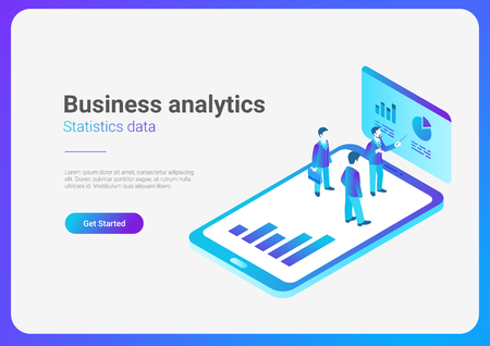 Isometric Flat Online Development Platform Vector Illustration. People standing on Smartphone with Statistics Charts Ilustração