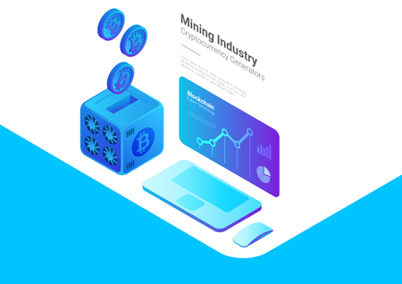 Bitcoin Miner with falling Coins and Computer with Cryptocurrency rate statistics on Screen Isometric Flat Mining industry Finance Market concept Illustration