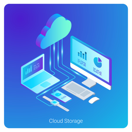 Isometric Flat Cloud Hosting Network vector Banner Design. Online Computing Storage 3D concept. Smartwatch, Computer, Laptop, Mobile phone objects Archivio Fotografico - 102960887