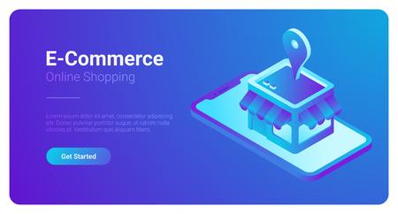 E-commerce isometrische vectorillustratie. Webwinkelwinkel in smartphone