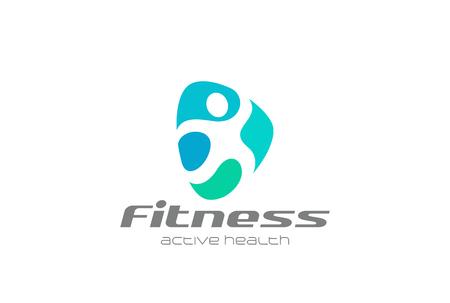 Fitness Sport man abstract Logo design vector template Illustration