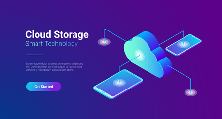 Isometric Flat Data Cloud Storage Network vector illustration. Online Computing Hosting 3D isometry concept. Tablet PC, Mobile phone smartphone objects