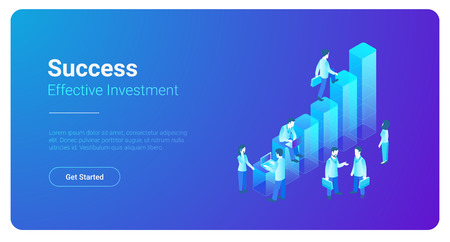 Isometric Business Finance Analytics Statistics Charts with People standing vector illustration Illustration