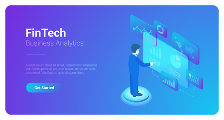 Man Business Analyse Data Market in Virtual space isometric flat vector illustration. Fintech Finance Charts Diagrams businessman concept Illustration