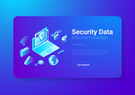 Security Data Protection Antivirus Anti spam illustration. Laptop Computer with Cloud Folder Mail Wifi Link Search icons isometric style vector banner design Illustration