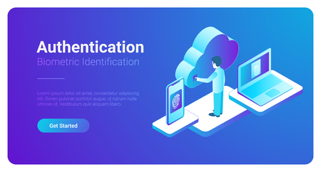 Isometric Authentication Biometric identification vector illustration. Man touches screen to get access to Cloud data by fingerprint Ilustrace