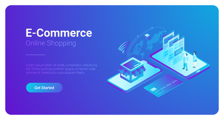 E-commerce isometric vector Banner design. People buy pay with Smartphone and Credit Card in the web shop. World map global