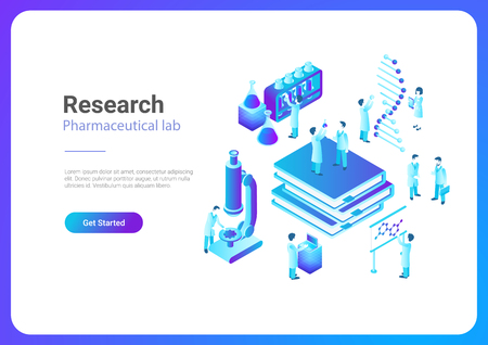 Isometric Flat Research Pharmaceutical Laboratory vector illustration. Scientists working with microscope test tubes DNA in Lab Foto de archivo - 102960890