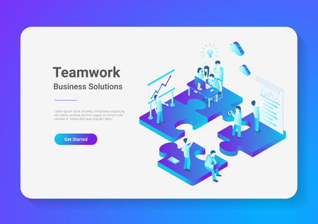 Isometric Flat vector Teamwork Business People on Puzzle parts. Finance Management Concept illustration