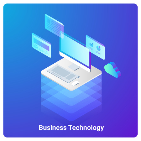 Isometric Flat Computer Ultraviolet vector illustration. Web Application Website Development Business Analytics Technology Concept