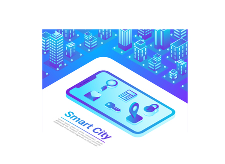 Isometric Smart City in Mobile web internet map navigation technology vector illustration concept