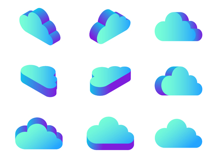Isometric Flat Cloud Computing icons collection vector Design in different views