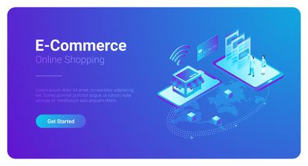 Ilustración de vector isométrica de comercio electrónico. La gente compra paga con Smartphone y Tarjeta de Crédito en la tienda web. Mapa del mundo global