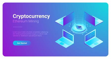Isometric Cryptocurrency Etherium Trading platform market vector illustration. Laptops Notebooks using Blockchain technology Illustration