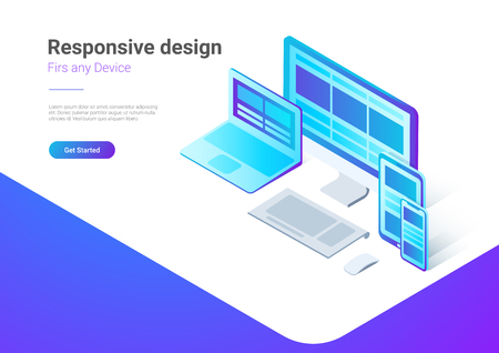Responsive Design on Computer Laptop Tablet PC mobile phone smartphone isometric flat vector illustration. Webdesign studio Banner concept Illustration