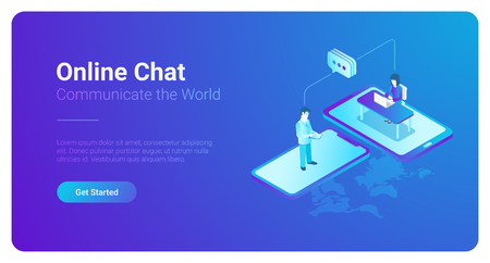 Online Communication Chat isometric flat illustration. People talking worldwide using smartphone computer mobile phone devices