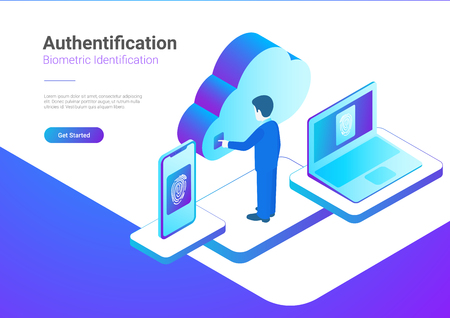 Isometric Authentication Biometric identification vector illustration. Man touches screen to get access to Cloud data by fingerprint Illustration