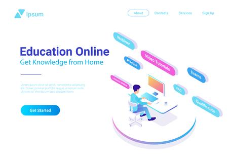 Concepto colorido del diseño del vector en línea de la educación plana isométrica. Hombre sentado aprendiendo a trabajar con la computadora