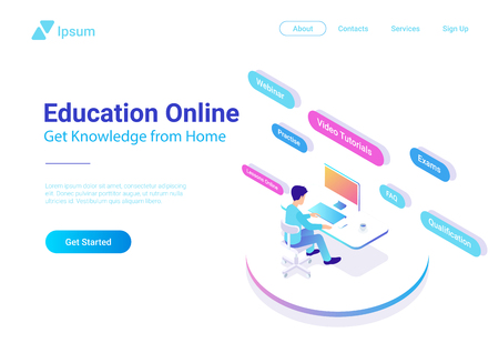 Flat Isometric Education Online vector design colorful concept. Man sitting learning working with Computer