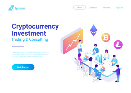 Isometric Flat Vector Team Brainstorming Cryptocurrency Investment illustration. Teamwork Marketing Management Collaboration Concept