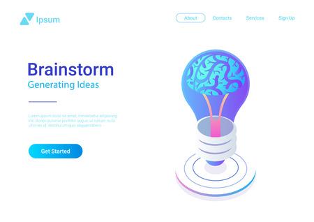 Isometric Flat Brainstorm ideas vector illustration. Brain in Light Bulb Lamp generate think creative innovation idea isometry 3D concept