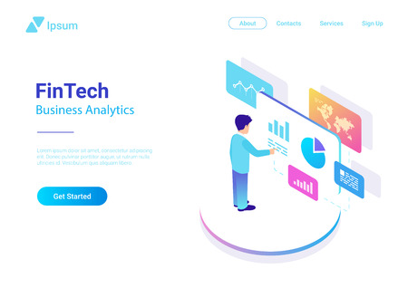 Man Business Analyse Data Market in Virtual space isometric flat vector illustration. Fintech Finance Charts Diagrams businessman colorful concept Illustration