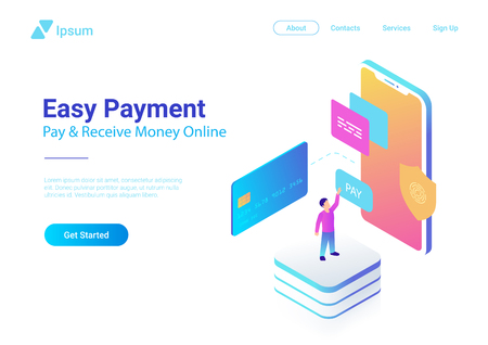 Online Payment by Credit Card on Smartphone isometric flat vector illustration. Man using bank card in Mobile phone online shopping colorful concept  イラスト・ベクター素材