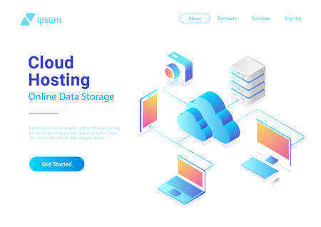 Isometric Flat Cloud Hosting Network vector Banner Design. Online Computing Storage 3D colorful concept. Smartwatch, Computer, Laptop, Mobile phone objects