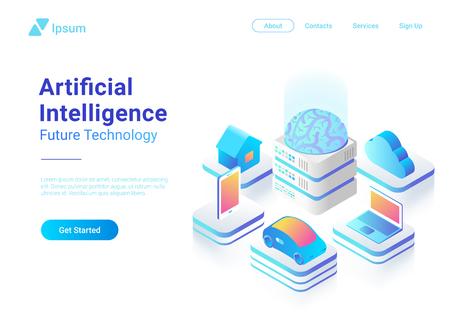Diseño colorido del vector del concepto de la tecnología del futuro del cerebro digital de la inteligencia artificial plana isométrica. Computadora portátil Coche eléctrico Smartphone Cerebro Casa objetos de AI