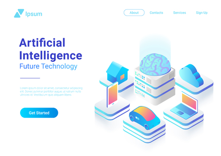Isométrique plat Intelligence artificielle cerveau numérique technologie future conception de vecteur de concept coloré. Ordinateur portable voiture électrique Smartphone Brain House objets de l'IA