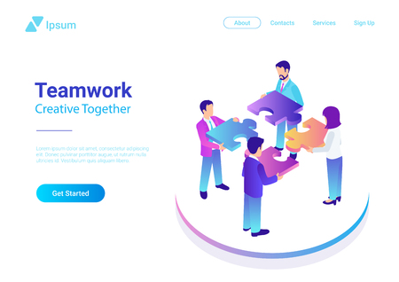 Isometric Flat vector Management Teamwork Business People with Puzzle parts. Finance Concept colorful illustration